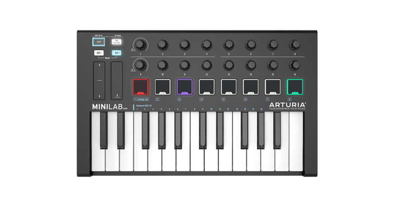 MIDI-клавиатура 25 клавиш Arturia MiniLab MKII Black Edition клавиатура asus cerberus mkii black usb 90yh0131 b2ra00