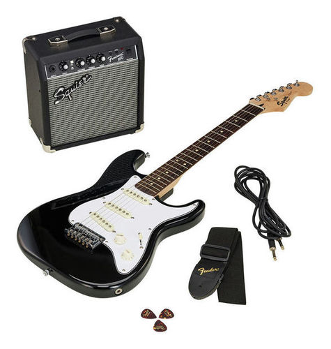 Комплект с электрогитарой Fender SQ Strat Pack SSS BK loaded pickguard assembly sss single coil pickup for fender strat replacement