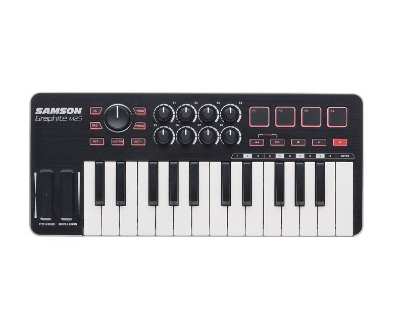 MIDI-клавиатура 25 клавиш Samson GRAPHITE M25 midi dj контроллер samson graphite md13